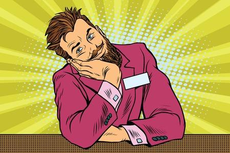 Hombre de negocios barba hipster conserje se sienta y sueños