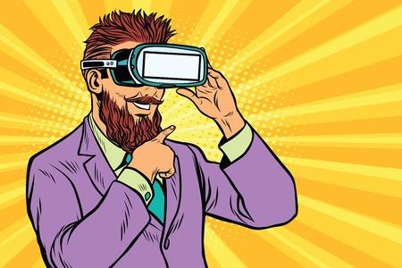 VR メガネのひげを生やしたヒップスターの笑みを浮かべてください。