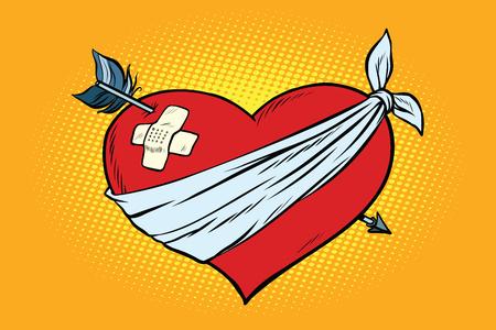 Herido corazón rojo amor con la flecha Cupido. Pop art retro ilustración vectorial