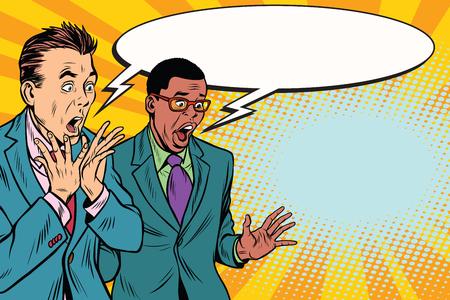 2 人のビジネスマンのショックを受けて、多民族のグループ。ポップアートのレトロなベクトル図