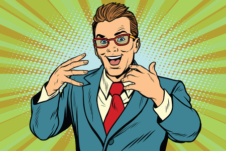 Gesticulating joyful businessman with glasses. Pop art retro vector illustration Ilustrace