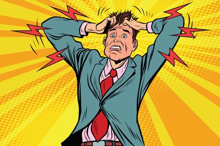 zakenman paniek hoofd hand, ziekte en geneeskunde. Pop art retro vectorillustratie