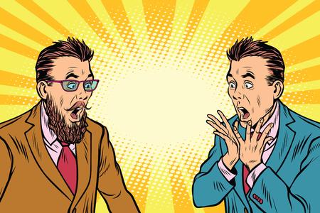 twee elegante retro zakenman geschokt. Pop art vectorillustratie Stock Illustratie