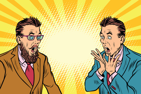 two elegant retro businessman shocked. Pop art vector illustration