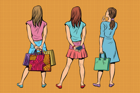 Beautiful young woman in a dress and the skirt is back. Viewers and audience. A set of human shapes silhouettes. Pop art retro vector illustration Illustration