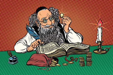 Old Jew with coins. Polish regional holiday. Stereotypes and prejudices. Pop art retro vector illustration