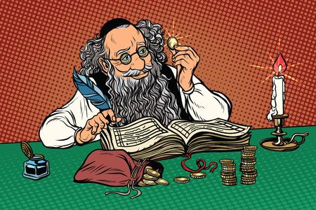 Viejo judío con monedas. Vacaciones regionales polacas. Estereotipos y prejuicios. Pop art retro ilustración vectorial Ilustración de vector