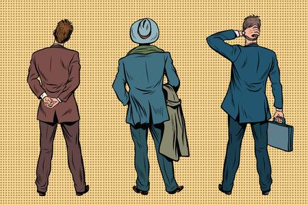 Drie retro zakenman staande terug. Kijkers en publiek. Een set van menselijke vormen silhouetten. Pop-art retro vector illustratie