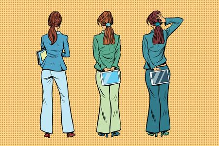 Slim zakenvrouw in broekpakken zijn terug. Kijkers en publiek. Een set van menselijke vormen silhouetten. Pop art retro vectorillustratie