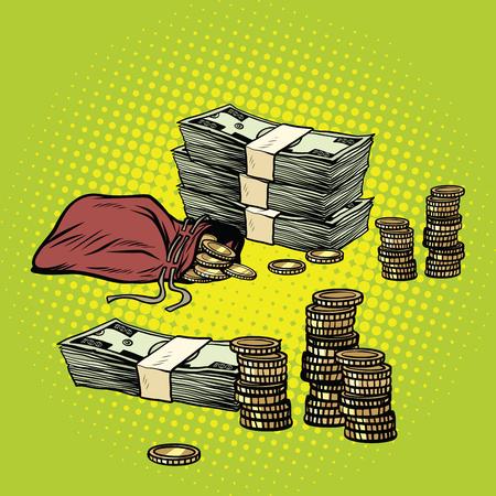 Pile de dollars et de pièces d'or. Affaires et finances. Illustration vectorielle rétro pop art