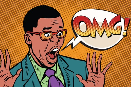 OMG black man businessman pop art style. African American people. Pop art retro vector illustration