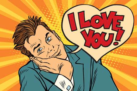 I love you businessman. Pop art retro vector illustration Фото со стока