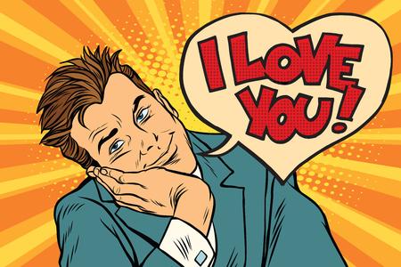 I love you businessman. Pop art retro vector illustration Stock Photo