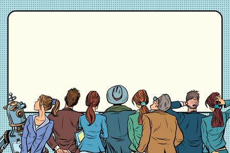 Retro groep mensen kijken op het zilveren scherm. Pop-art retro vector illustratie