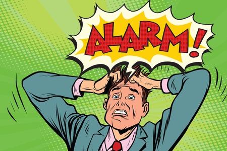 alarm businessman in panic. Pop art retro vector illustration