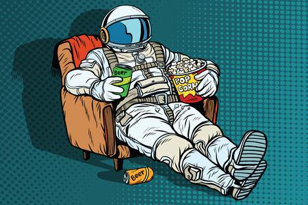 ビールとポップコーンの椅子に座っている観客の宇宙飛行士。宇宙の孤独。ポップアートのレトロなベクトル図