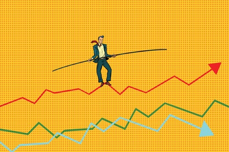 businessman tightrope Walke, schedule of sales