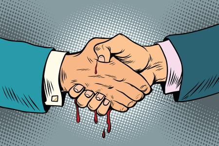 bloody handshake, underhanded business transaction Stock Photo - 78488470