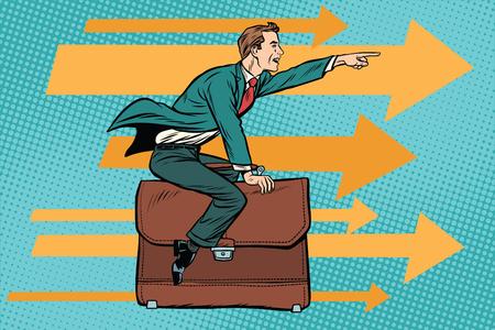 Geschäftsmann, fliegen auf einem Leder Business Aktenkoffer Standard-Bild - 78515468