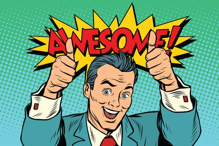 awesome businessman two like gesture, thumb up Standard-Bild