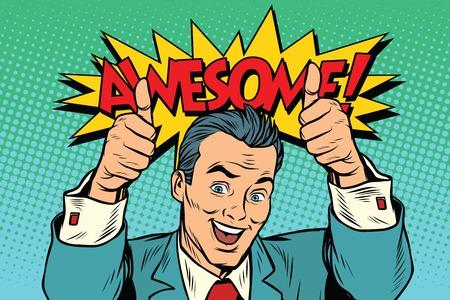 geweldige zakenman twee zoals gebaar, duim omhoog