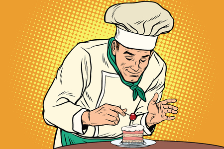 De chef-kok bereidt een zoet dessert