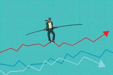 tightrope walker: businessman tightrope Walke, schedule of sales