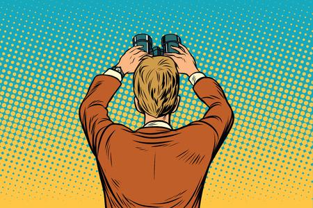 Lookout businessman with binoculars Reklamní fotografie