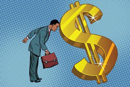 zakenman en financiën, de man rustte zijn voorhoofd in dollars