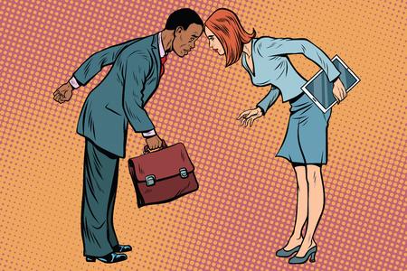 충돌에서 두 사업가입니다. 인종 및 성적 차별