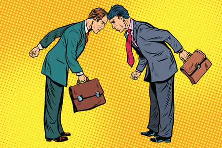 Bedrijfsconcurrentie, twee zakenman in conflict