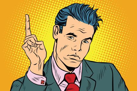 zakenman wijst vinger omhoog. Pop-art retro vector illustratie