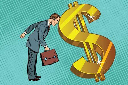 zakenman en Financiën rustte de man zijn voorhoofd in dollars. Pop art retro vectorillustratie