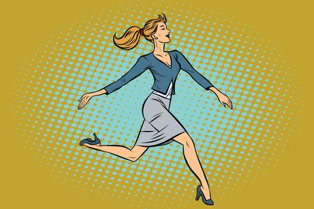 Beautiful businesswoman elegantly runs. Pop art retro vector illustration