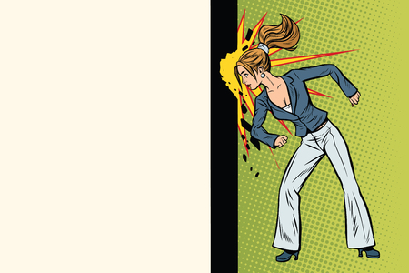 Businesswoman punches the wall with her head. Pop art retro vector illustration