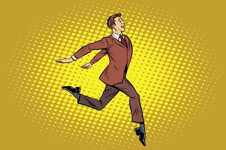 Elegant businessman runs forward. Pop art retro vector illustration Illustration