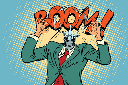 Boom, head exploded light bulb from the stress at work. Pop art retro vector illustration Stock Photo
