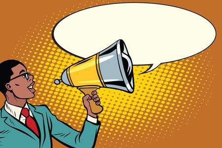 Pop-art zwarte zakenman met een megafoon. Pop art retro vectorillustratie Stockfoto - 79078234
