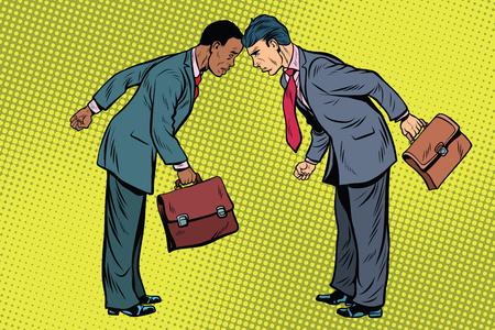 흑인과 백인 충돌에 사업가입니다. 인종 차별, 사회적 이슈 및 정치. 팝 아트 복고풍 벡터 일러스트 레이션 스톡 콘텐츠