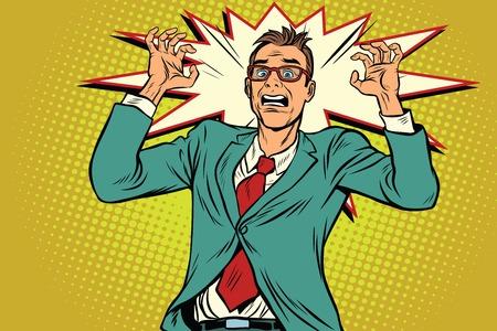 ビジネスマンのパニックで職場でのストレスします。ポップアートのレトロなベクトル図