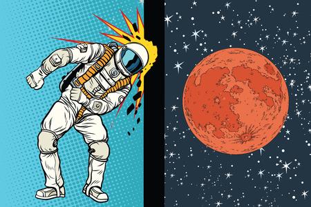 Kosmonaut slaat het hoofd tegen de muur. Een droom om op Mars te zijn. Pop art retro vectorillustratie