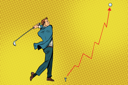Businessman Golf shot, profit graph. Pop art retro vector illustration
