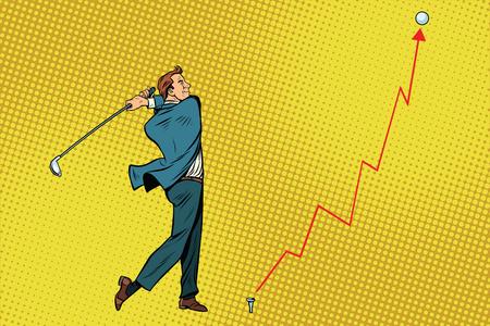 Hombre de negocios Golpe de golf, gráfico de ganancias. Pop art retro ilustración vectorial Foto de archivo - 79064112