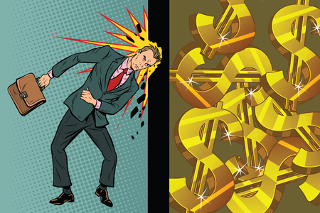 Businessman breaks the wall of his head, dollars and wealth. Pop art retro vector illustration