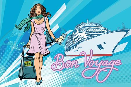 아름 다운 여자 승객 봉 여행 항해 선박. 팝 아트 복고풍 벡터 일러스트 레이션