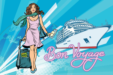Beautiful woman passenger Bon voyage cruise ship. Pop art retro vector illustration