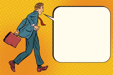 とんでもないビジネスマンは言う漫画バブルです。ポップアートのレトロなベクトル図  イラスト・ベクター素材