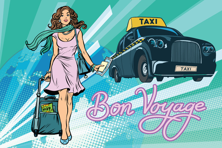 Beautiful young woman tourist passenger taxi. Pop art retro vector illustration Illustration