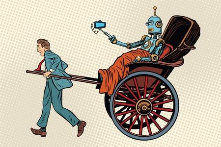 人々 人力車に乗るロボット。ポップアートのレトロなベクトル図