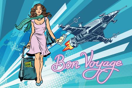 Bon voyage space travel, space tourism. Pretty girl passenger with Luggage. Pop art retro vector illustration